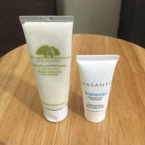 Origins face wash/ Vasanti face exfoliant duo